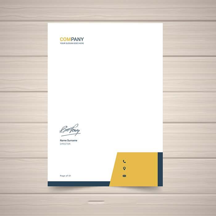 Mẫu giấy tiêu đề màu vàng